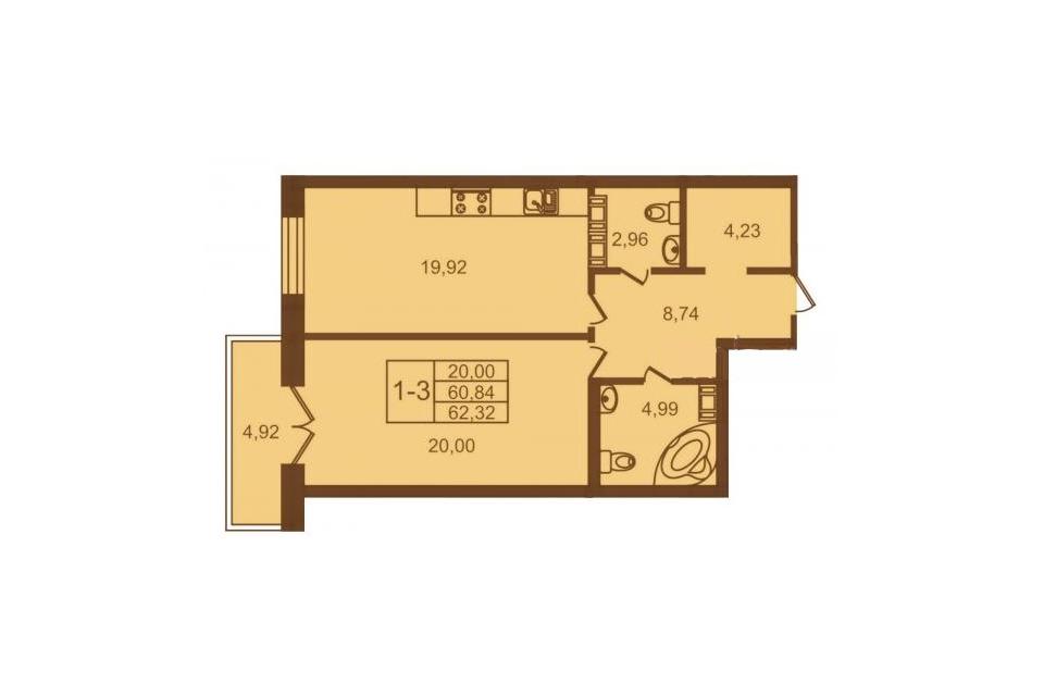 1-комнатная, 61 м. кв., 3 этаж, 11.500.000 руб.
