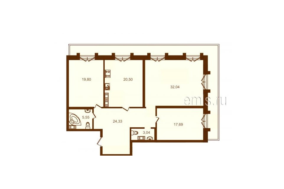 3-комнатная, 123 м. кв., 8 этаж, 34.550.000 руб.