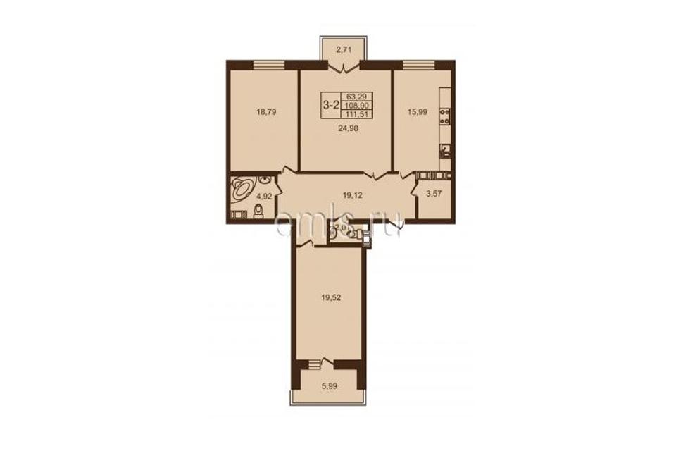 3-комнатная, 109 м. кв., 3 этаж, 22.650.000 руб.