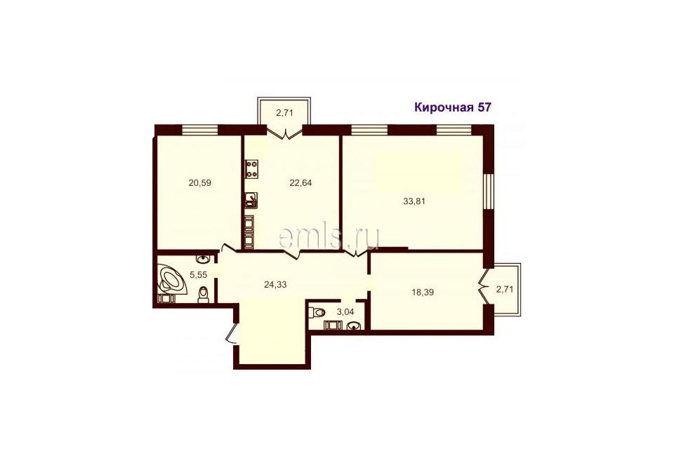 3-комнатная, 128.5 м. кв., 4 этаж, 28.050.000 руб.