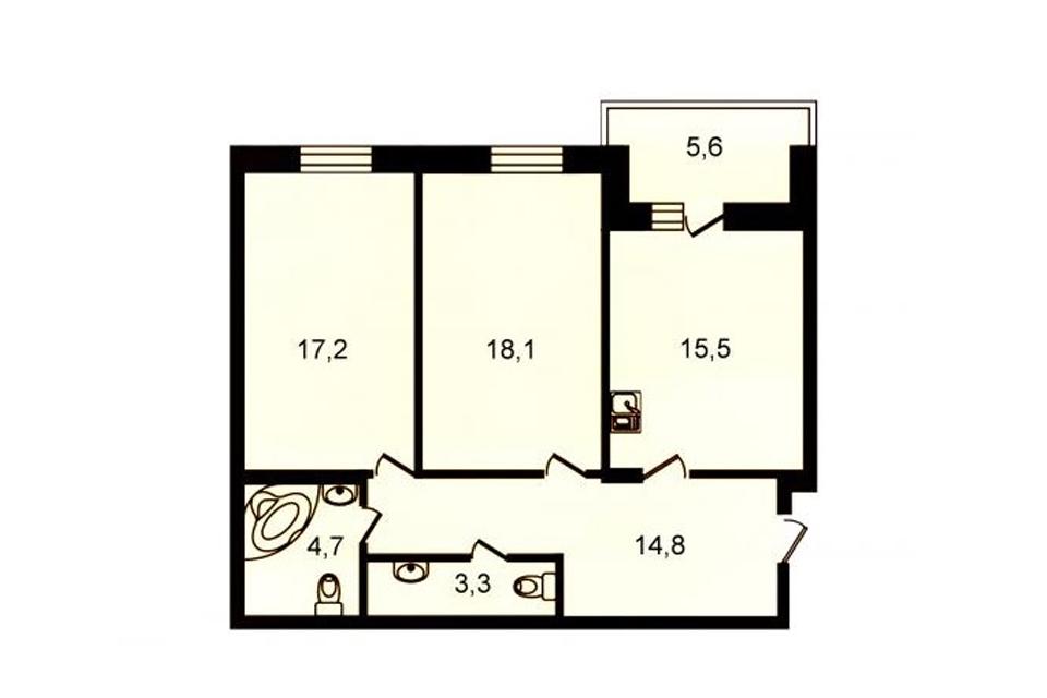 2-комнатная, 73.5 м. кв., 6 этаж, 16.550.000 руб.