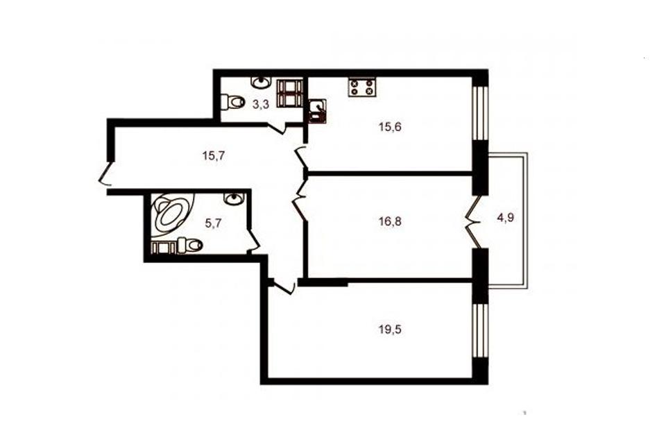 2-комнатная, 76.8 м. кв., 7 этаж (видовая), 18.350.000 руб.